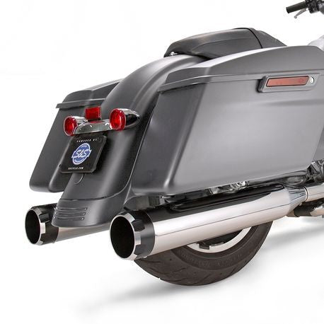 "S&S Cycle - Mk45 Slip-On Mufflers Chrome with Highlight Machined Black Thruster End Caps - 4.5"" for 2017-'19 M8 Touring Models"