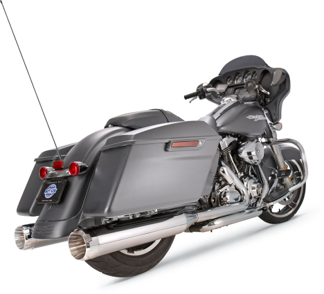 "S&S Cycle - Mk45 Slip-On Mufflers Chrome with Chrome Thruster End Caps - 4.5"" for 2017-'19 M8 Touring Models"