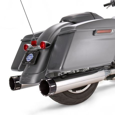 "S&S Cycle - Mk45 Slip-On Mufflers Chrome with Highlight Machined Black Tracer End Caps - 4.5"" for 2017-'19 M8 Touring Models"