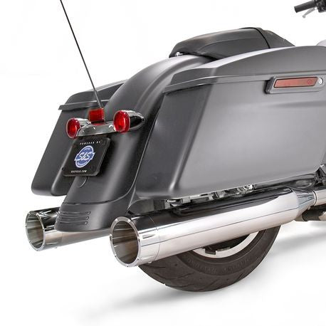 "S&S Cycle - Mk45 Slip-On Mufflers Chrome with Chrome Tracer End Caps - 4.5"" for 2017-'19 M8 Touring Models"