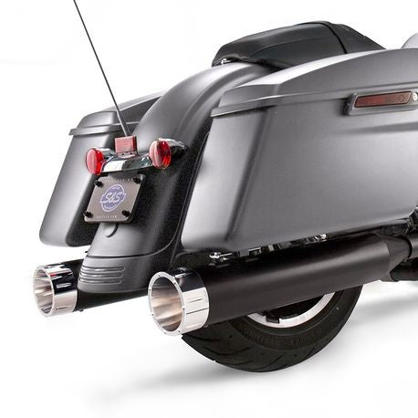 "S&S Cycle - Mk45 Slip-On Mufflers Ceramic Black with Chrome Tracer End Caps - 4.5"" for 2017-'19 M8 Touring Models"