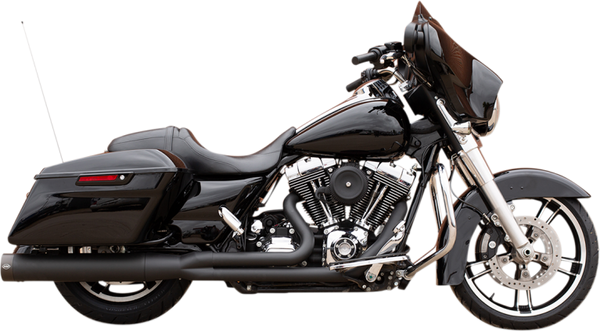 S&S Cycle Sidewinder® 2-1 Exhaust System, Black with Black Highlighted Machined End Cap for 1995-2005, 2007-2009 FL® Models