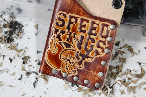 Leather Card Wallet - Smoking Skull