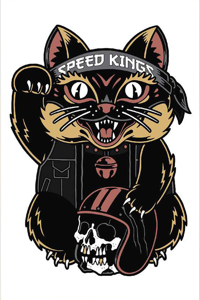Speed-Kings Cycle Lucky Cat Garage Banner