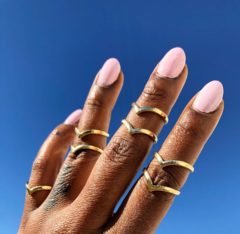 Gold Midi Rings-Set of 2 - OOO Polish