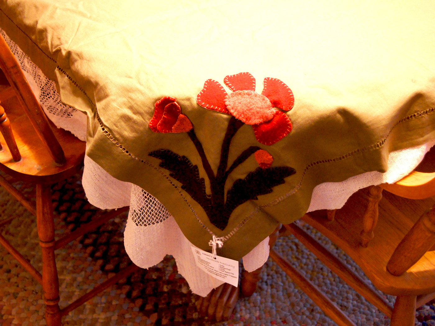 Hand applique felted wool tablecloth u hand made oklahoma