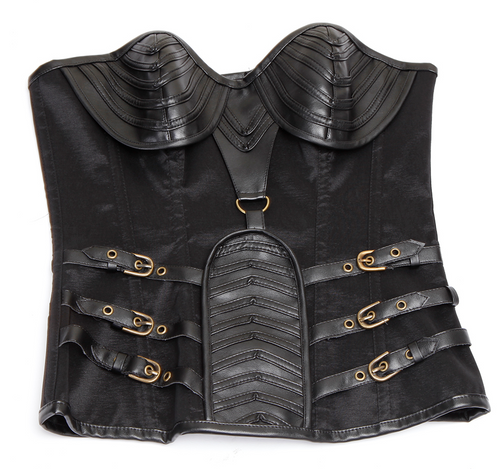 Steampunk Gothic Faux Leather Bustier