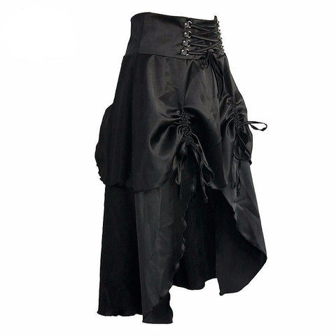 Black Satin Gothic Skirt With Ruffle Women Steampunk-Skirt-Steampunk Funk