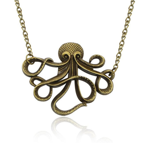 Octopus Pendant Necklace Sweater Long Chain-Jewelry-Steampunk Funk