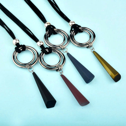 Vintage Gothic Black Suede Long Rope Necklaces