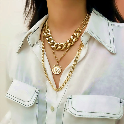 Layered Cuban Chain Necklace