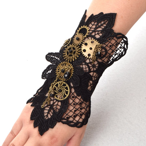 Steampunk Lace Gear Wrist Cuff