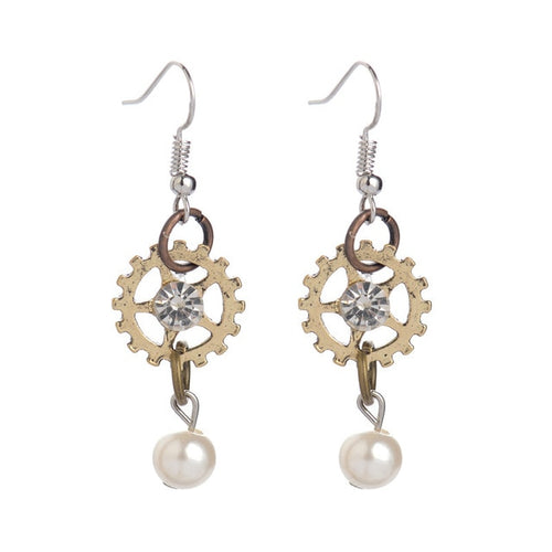 Crystal & Pearl Gear Earrings