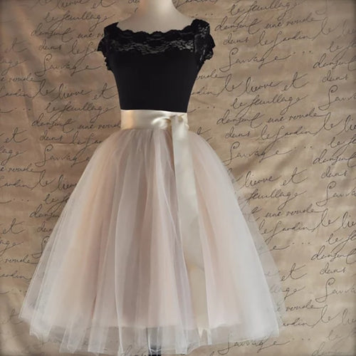 High Waist Layered Tulle Skirt