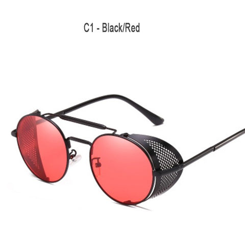 Stainless Steel Temple Shield Sunglasses