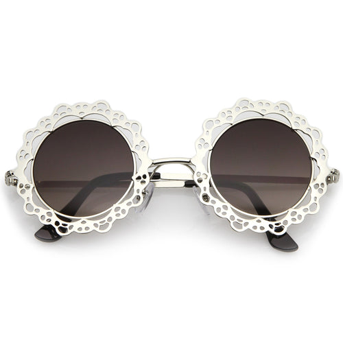 Cutout Lace Round Sunglasses