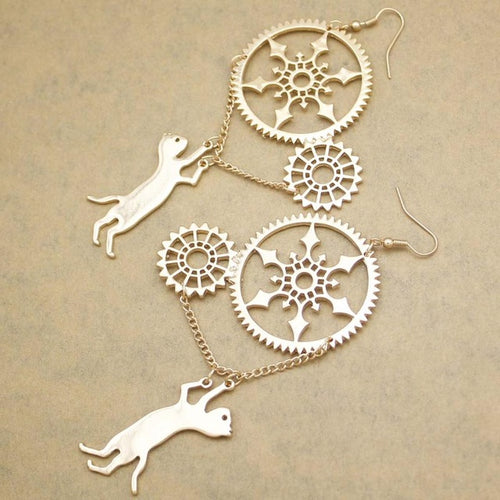 Silver Kitty Steampunk Earrings