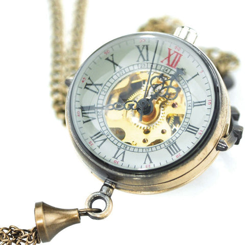 Steampunk Transparent Glass Ball Mechanical Pendant Pocket Watch-Pocket watch-Steampunk Funk
