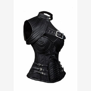 Steel Boned Steampunk Armor Corset With Shoulder Shield-corset-Steampunk Funk