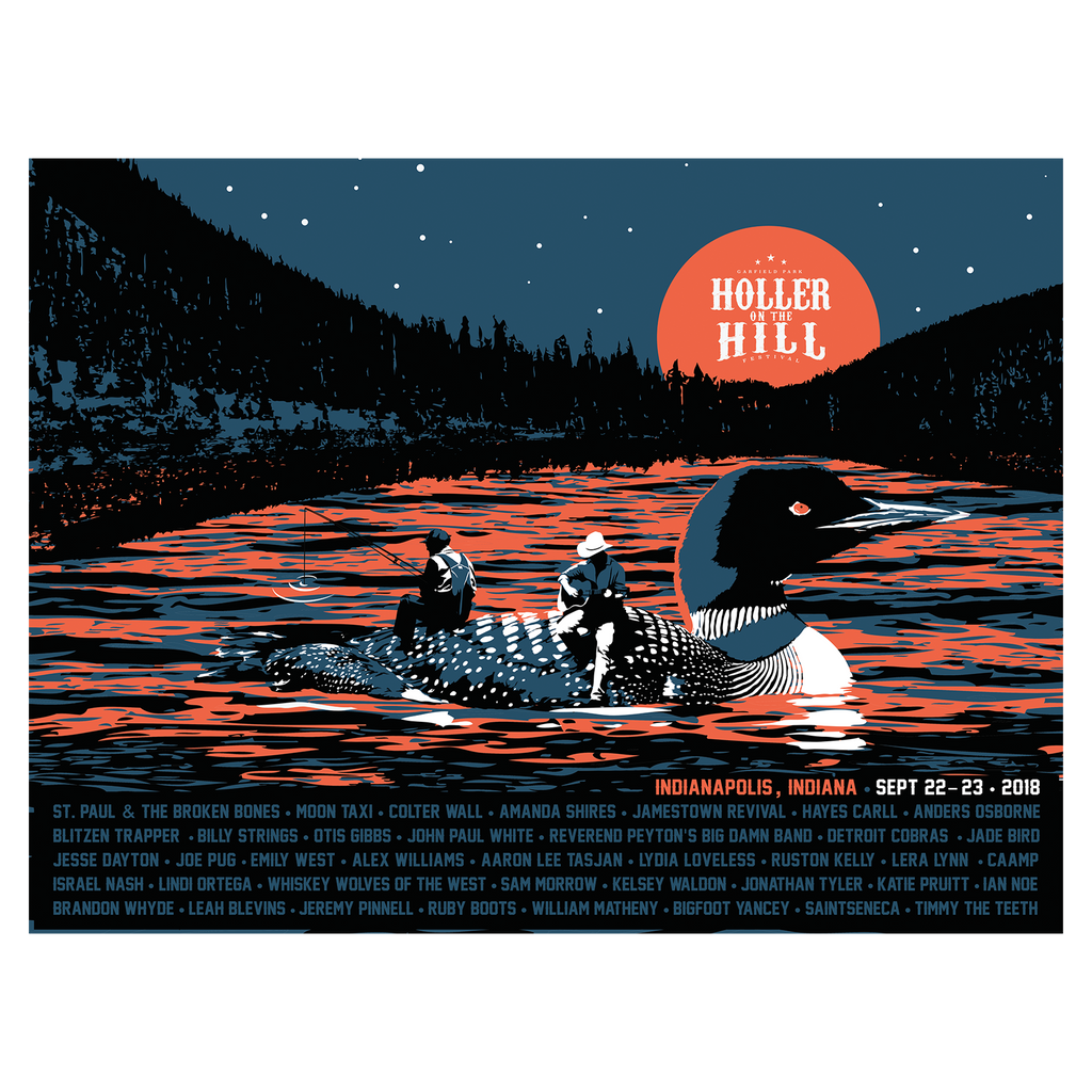 2018 Holler On The Hill Lake Of Fire Silkscreened Poster - 18x24
