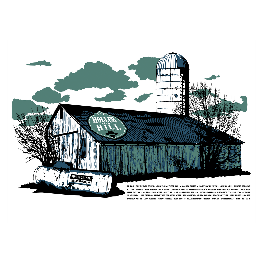 2018 Holler On The Hill Heartland Barn Silkscreened Poster - 18x24