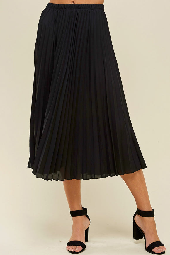 Pleated Black Midi Skirt