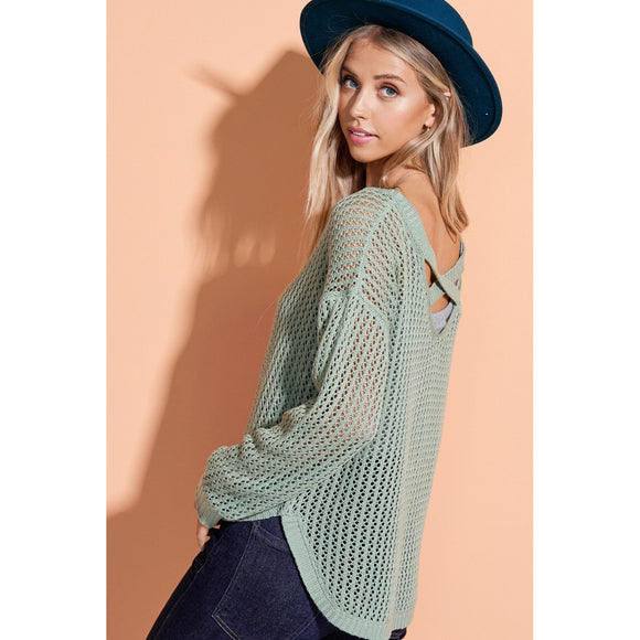 Sage Criss Cross Sweater