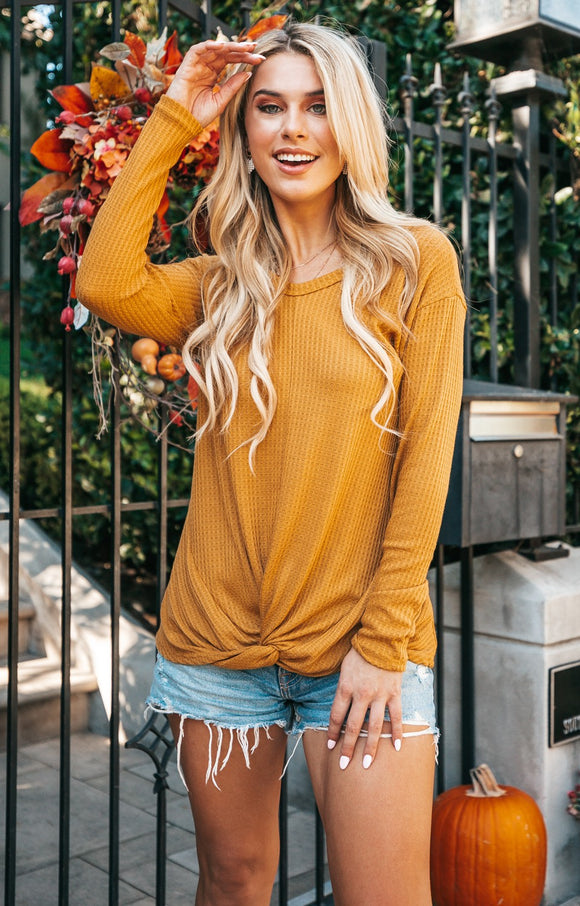 Mustard Waffle Knit Front Knot Top