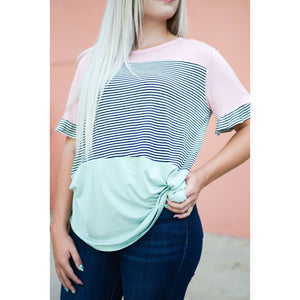 Color Block Ruffle Top