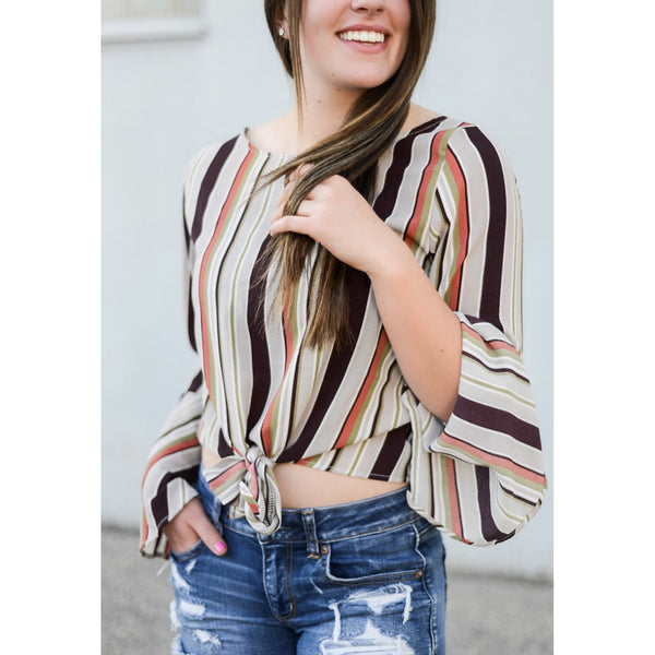 The Belle Striped Tie Front Top