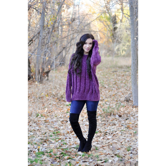 Purple Chenille Sweater
