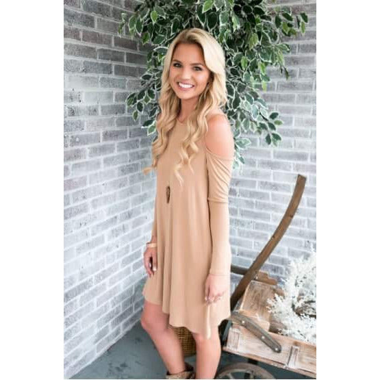 Sassy Shoulder Dress - Camel