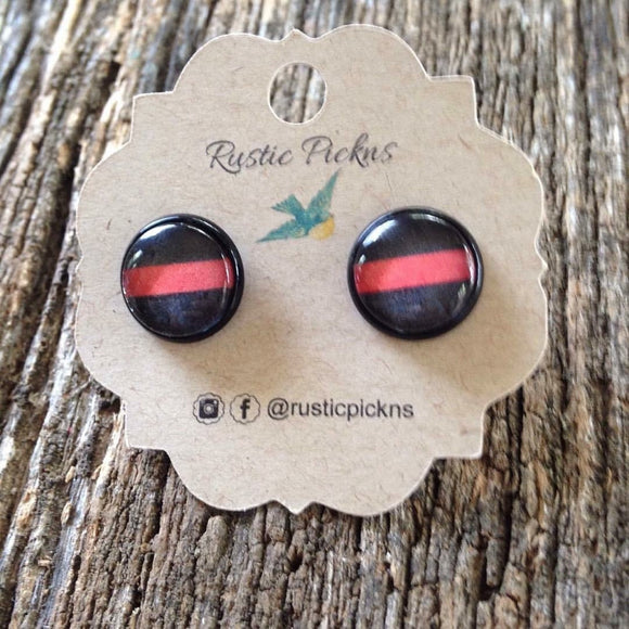 Thin Red Line Stud Earrings