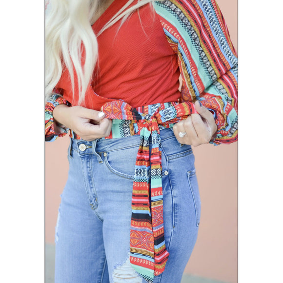 Red Hot Tribal Sleeve Blouse