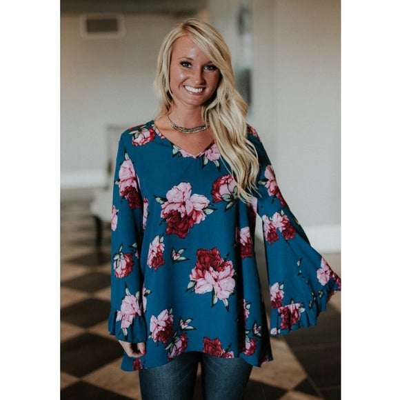 Ruffle Me Floral Tunic