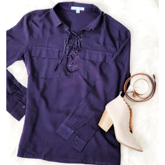 Lace Up Purple Top