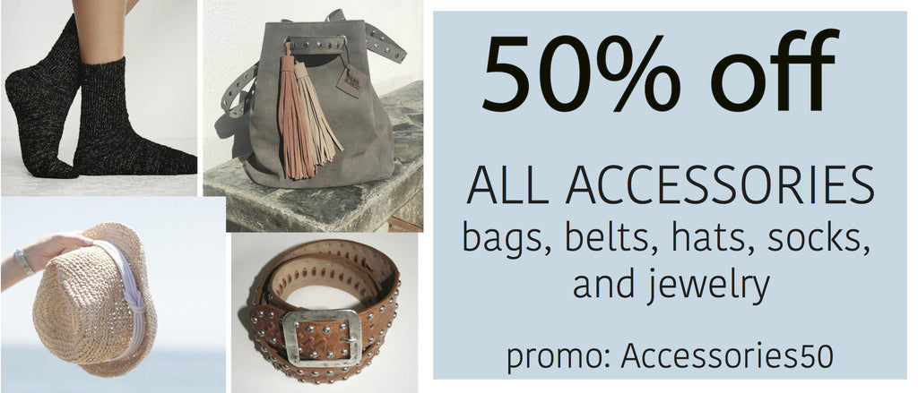 50% off all bags, hats, and accessories