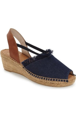 Andre Assous - Dainty-AA Open-Toe Wedge Sandal Denim - Seaside Soles