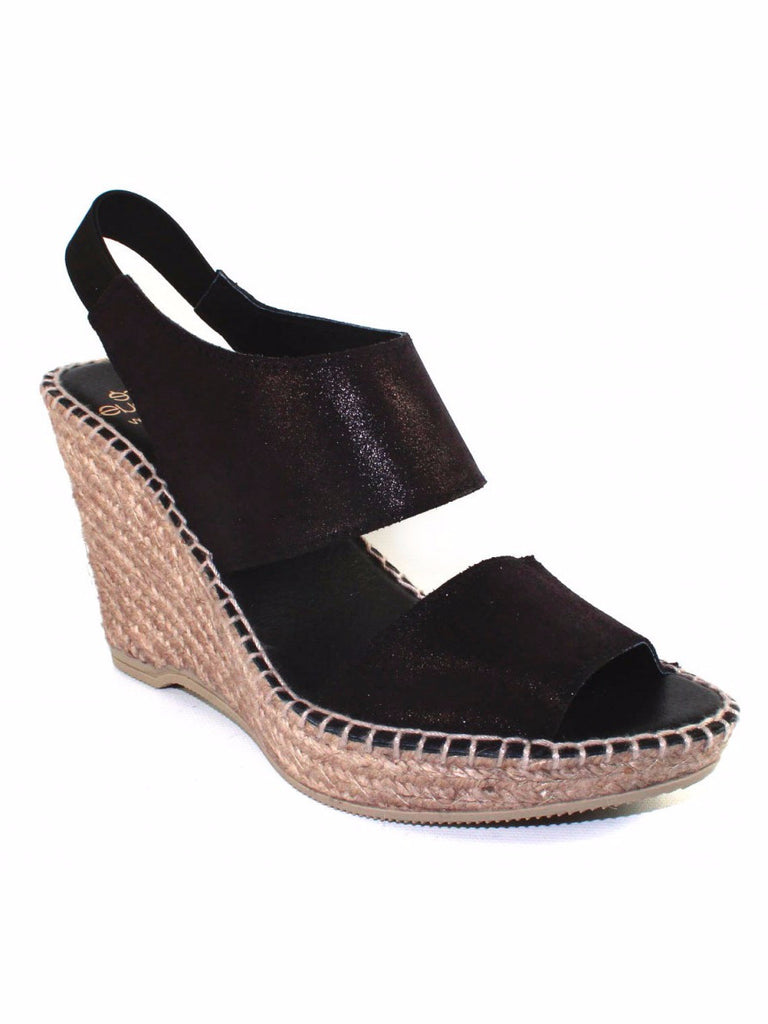 Andre Assous - Reese A Open Toe Wedge Sandal in Black Metallic - Seaside Soles