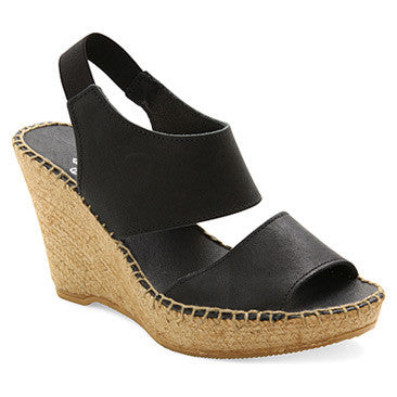 Andre Assous - Reese A Open Toe Wedge Sandal in Black - Seaside Soles