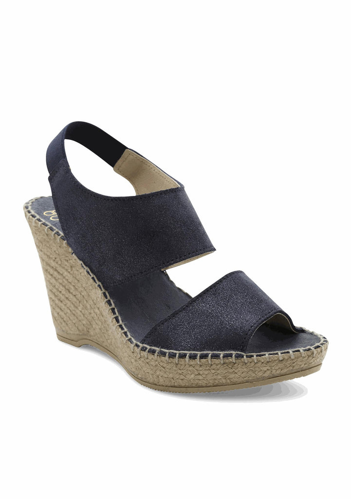 Andre Assous - Reese A Open Toe Wedge Sandal in Navy Metallic - Seaside Soles