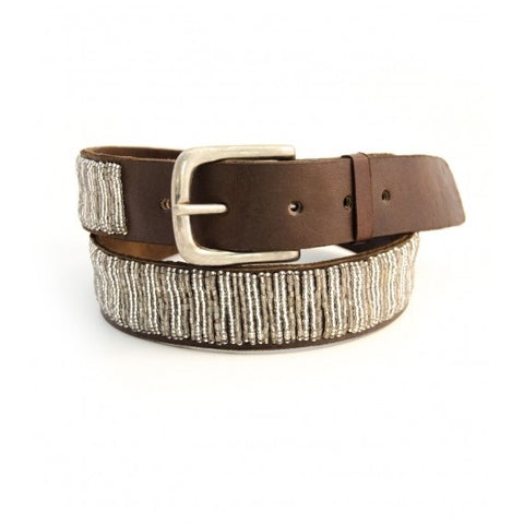 Aspiga - Coffee Leather And Silver Belt - Seaside Soles