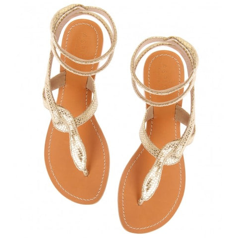 Asiga Cobra Thong Sandal in Gold Leather - Seaside Soles