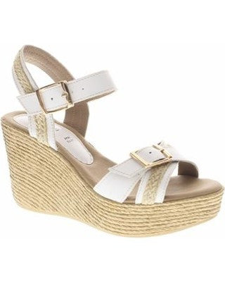 Azura - Frappe Wedge Sandal White - Seaside Soles