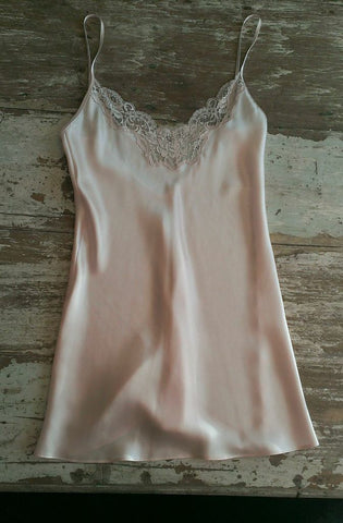 Christine Lingerie - Silk Chemise with Lace V - Seaside Soles