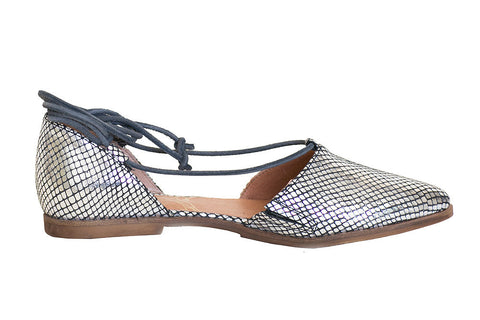 Coque Terra - Betty Metallic Leather Silver Flat - Seaside Soles