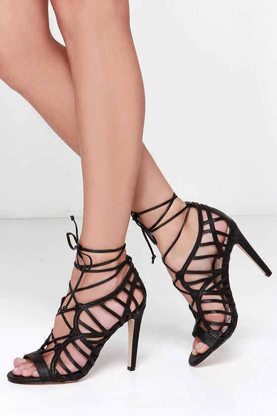 DV Tessah Caged Heel in Black Leather - Seaside Soles