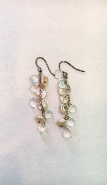 Elizabeth B - Blue Kyanite & Pearl Dangle Earrings - Seaside Soles