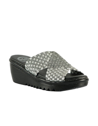 Heal - Ada Wedge Sandal in Silver - Seaside Soles