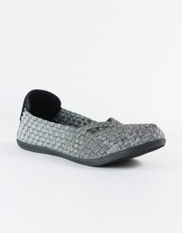 Heal - Eden Stretch Woven Elastic Flat in Silver - Seaside Soles